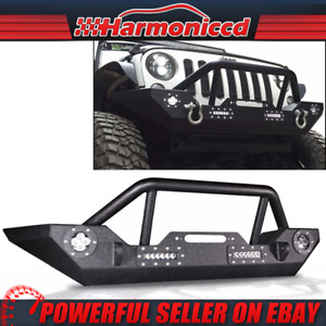 Fits 07 19 Jeep Wrangler Front Bull Bar Bumper Guard Black With Led Light