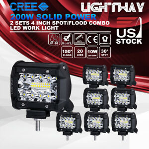 10x 4 Inch 200w Cree Led Work Light Pod Spot Flood Combo Driving Light Ford