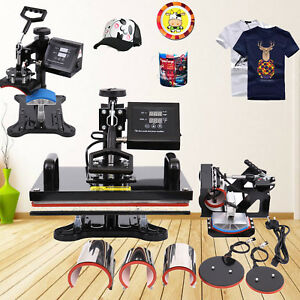 8 In 1 Digital Heat Press Transfer Sublimation Machine Swing Away T shirts 12x15