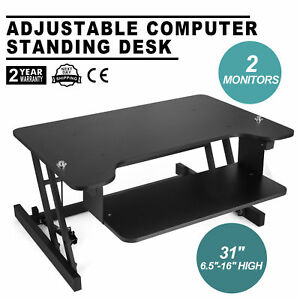 Height Adjustable Standing Desk Sit Stand Up Riser Computer Office Study Laptop_
