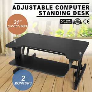 32 Desktop Tabletop Standing Desk Adjustable Height Sit To Stand Workstation