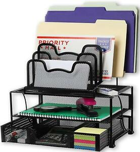 Mesh Desk Organizer With Sliding Drawer Double Tray And 5 Stacking Sorter