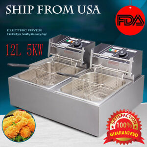 5000w 12l Electric Fryer Deep Pan Cooking Dual Pan Cuisine Commercial Restaurant