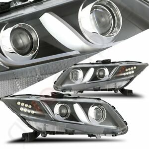 Led Drl Bar Projector Black Headlights Clear Lens Lamp For 2012 2015 Honda Civic