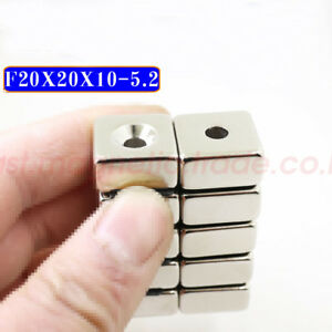 20mm X 20mm X 10mm Countersunk 5mm Strong Block Rare earth Neodymium Magnets N50