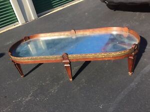 Vintage Coffee Table Baker Brass Glass Brass Reverse Painted Glass Silver Leaf
