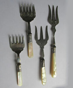 4 Antique English Serving Forks With Mother Of Pearl Handles Engraving