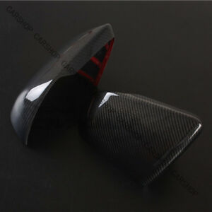 Real Carbon Fiber Car Door Side Mirror Cover W Light For Ford Mustang Gt 15 19