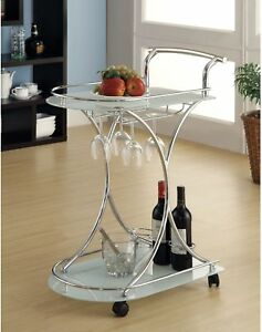White Glass Chrome Modern Bar Cart