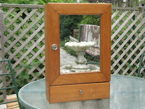 Antique Mahogany Wood Medicine Cabinet Late 1800s Mirror Drawer Orig Hardware