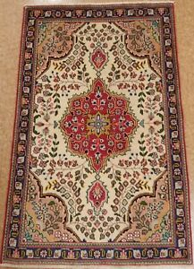 Persian Hand Knotted Wool Ivory Red Blue Floral Oriental Rug 3 2 X 5