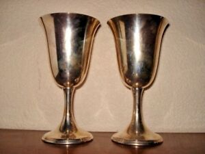 Lot Of 2 Large Sterling Silver Water Goblets Gold Wash Interior 6 1 2 260 Gram