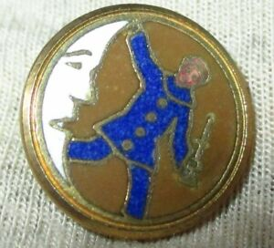 Antique French Champleve Enamel Button W Crescent Man On Moon Jester Clown 2