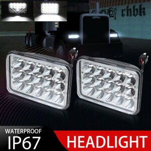 Universal 4x6 Led Cree Crystal Clear Sealed Beam Headlight Headlamp Pair 45w Oy