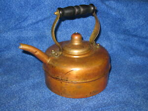 Vintage English Water Tea Kettle Copper Brass Wood Handle Safety Liquid Spout