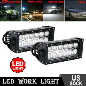 2x7inch 36w Led Work Light Bar Flood Beam For Offroad 4wd Suv Driving Fog Lights