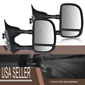R l Side Telescoping Textured Tow Mirrors For 99 07 Ford F550 Manual Extension