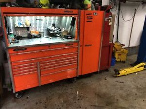 Snap On Orange Tool Box And Stainless Steel Top And Hutch And Side Cabinet