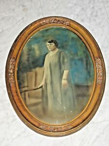 Antique Oval Convex Bubble Glass Gold Gilded Gesso Picture Frame Extra Large