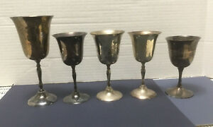 5 Vintage Silver Plate Stemmed Wine Goblets Made In India Props Trophy 1980s
