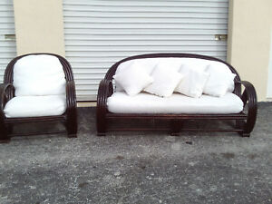 Vintage Mid Century Brown Bamboo Pretzel Couch Chair Paul Frankl Style