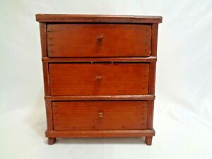 Old Primitive Salesman Sample Wood Chest Drawers W Square Nails