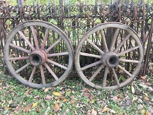 Pair Antique Wood Spoked Wagon Wheels Red Paint