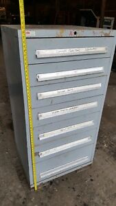 Used Lyon 7 Drawer 59 Cabinet Industrial Tool Parts Storage Box Vidmar