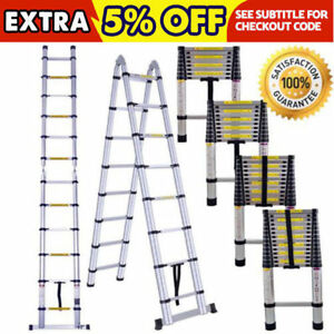 12 5ft 16 5ft Aluminum Multi Purpose Telescopic Ladder Extension Steps 331lbs Aa