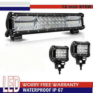 12inch 7d tri row 216w Flood Spot Combo Led Work Light Bar Off Road Driving Lamp