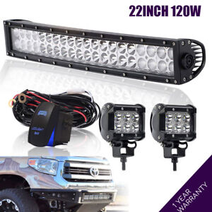 120w 22inch Led Work Light Bar Combo For Driving Offroad 4wd Motor Tractor