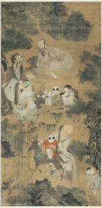 Chinese Antique Painting On Silk Immortals And Children In Ming Dynasty