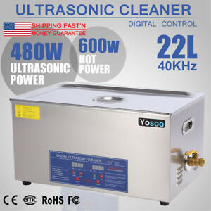 Stainless Steel 22l Liter Industry Heated Ultrasonic Cleaner Heater Timer Us