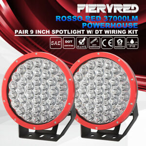 2pcs 9inch Led Lighs Red Spotlight Work Light Driving Lamp W Mounting Accessory