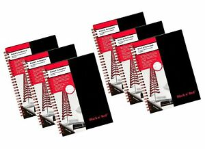 Case Of 6 Black N Red Twin Business Notebook Hardcover Wired 8 1 4 X 5 7