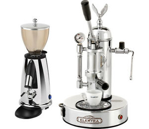 Elektra Micro Casa Grinder Msdc Chrome Finish Manual Lever Espresso Set 110v