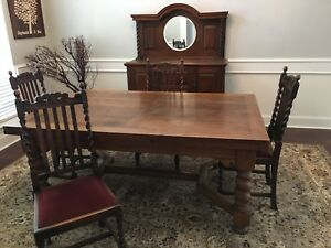 English Oak Barley Twist Expandable Dining Table Chairs Buffet
