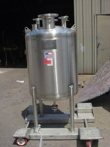 100 Gallon 304 Sanitary Polished Stainless Steel Pressure Tank 25 Psi Full Vac