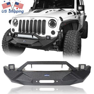 Textured Black Front Bumper W Winch Plate For 07 18 Jeep Wrangler Jk Unlimited