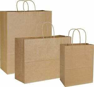 100 Kraft Paper Bags Merchandise Gift Shopper Assortment 3 Sizes
