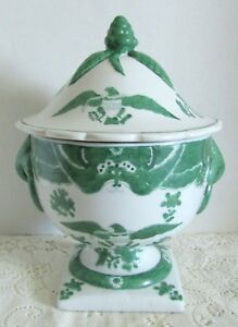 Large Vintage Decorative Patriotic Green White Eagle Pedestal Tureen Bowl