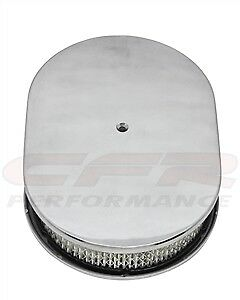 15 Oval Smooth Polished Aluminum Air Cleaner For Chevy Ford Mopar 5 1 8 Neck