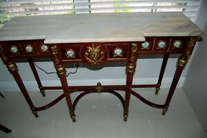 Antique 19c French Louis Xv Ormolu Medallions Marble Top Console Sofa Table