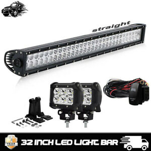 30 Inch 500w Curved Led Light Bar Offroad Atv Suv 4wd Truck Led Pods Wiring Kit