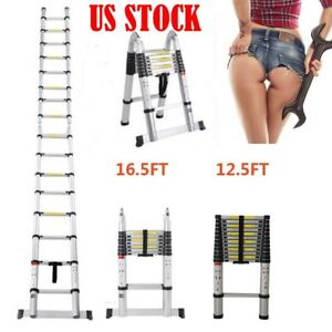 16 5ft Duty Aluminum Multi purpose Extention Ladder Folding Telescopic A Frame