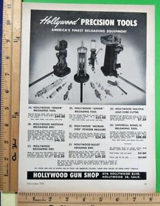 1953 HOLLYWOOD GUN SHOP Precision cartridge reloading tools Vtg Print Ad 10039