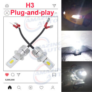 H3 Cree Led Fog Light Bulbs Conversion Kit Super Bright Canbus 4300k Yellow 55w