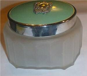 Vintage Art Deco Dressing Table Jar Frosted Glass Sterling Silver Ornament