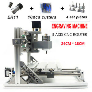 3 Axis Diy Cnc 2418 Mill Wood Router Kit Usb Engraver Pcb Milling Er11 Machine