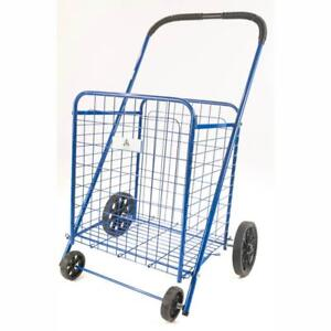 Athome Medium Deluxe Rolling Utility Shopping Cart Stowable Folding Heavy Du